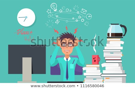 Plan Help Poster of Angry Man Vector Illustration Stock photo © robuart