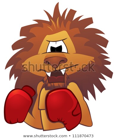 Cartoon Lion Boxers Stok fotoğraf © Oxygen64
