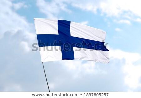Finland lint vlag blauwe hemel abstract ontwerp Stockfoto © doomko