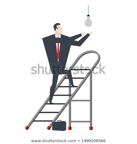 Businessman on stepladder. Boss on sliding portable staircase. V Stock photo © MaryValery