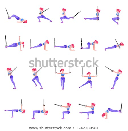 Set of woman doing different exercises with gymnastic rings TRX Stock photo © MarySan