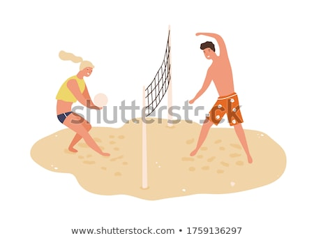 praia · voleibol · jogador · asiático · sorridente - foto stock © cthoman