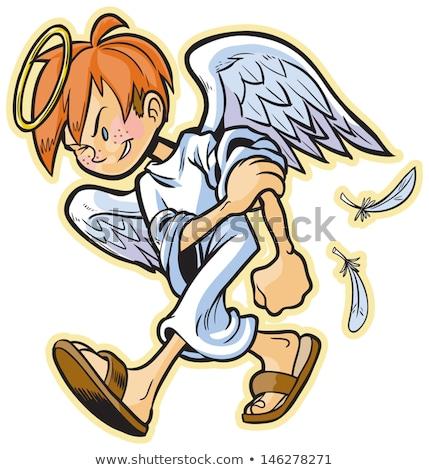 Cartoon anioł spaceru ilustracja człowiek skrzydełka Zdjęcia stock © cthoman