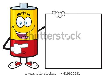 Pil karikatür maskot karakter işaret yalıtılmış Stok fotoğraf © hittoon