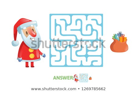 Cartoon labirynt gry Święty mikołaj ilustracja edukacji Zdjęcia stock © izakowski