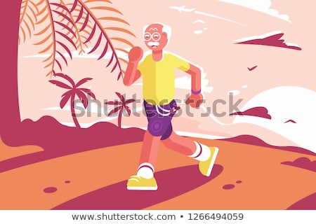 grandpa at sports suit running at seaside stock photo © jossdiim