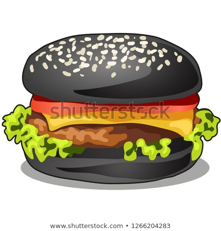 Black big burger with cutlet of beef meat, melted cheese, leaf of lettuce and tomato isolated on whi Stock photo © Lady-Luck
