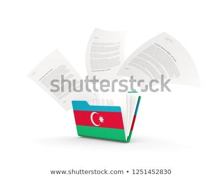 bandera · Azerbaiyán · aislado · blanco · 3d · etiqueta - foto stock © mikhailmishchenko