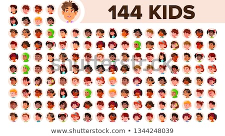 Boy Avatar Set Kid Vector. Black. Afro American. Face Emotions. Kid, Child. Friendly, Weeping. Carto Stock photo © pikepicture