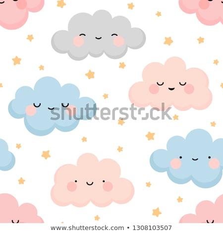 Jongen pluizig wolken illustratie hemel glimlach Stockfoto © colematt