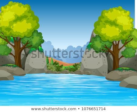 Grande estanque hermosa valle ilustración agua Foto stock © colematt