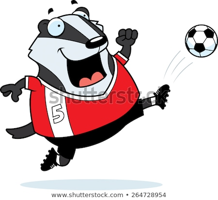 Cartoon Badger Soccer Kick Stock photo © cthoman