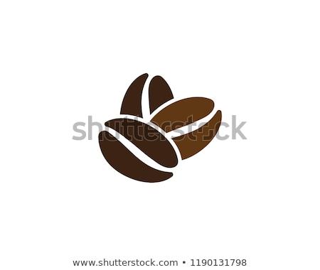 Grain de café brun noir icône vecteur logo Photo stock © blaskorizov