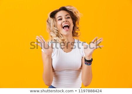 写真 幸せ ブロンド 女性 基本 服 ストックフォト © deandrobot