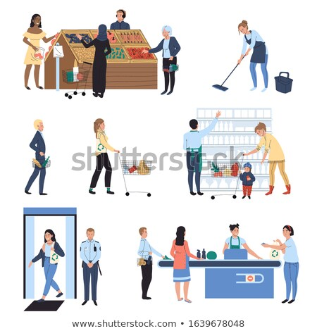 supermarket working people and client set vector stock photo © robuart