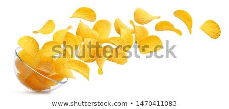 Szett citromsárga ropogós burgonyaszirom izolált fehér Stock fotó © MarySan