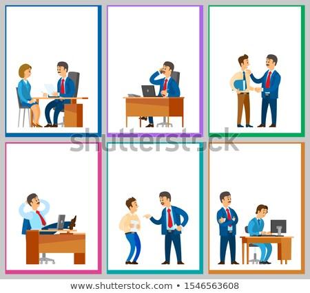 Interview Kandidat sprechen Direktor Plakate Text Stock foto © robuart