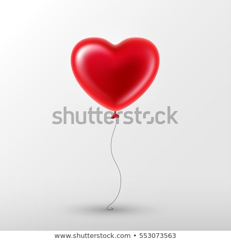 I Love You, Happy Valentines Day, red balloon in form of heart with ribbon. Vector illustration Stock photo © olehsvetiukha
