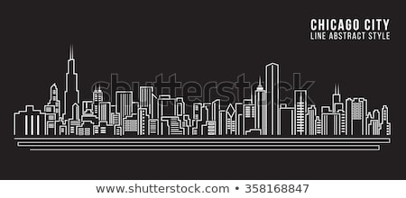 chicago cityscape line drawing stock photo © cteconsulting
