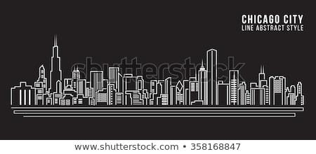 Foto stock: Chicago · cityscape · linha · desenho · imagem · céu