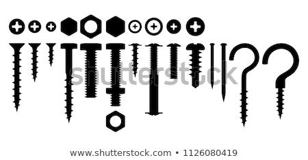 Ikona śruby paznokci cienki line projektu Zdjęcia stock © angelp