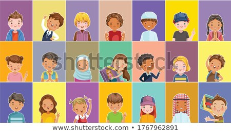 Arap · Müslüman · kız · anaokulu · çocuk · vektör - stok fotoğraf © pikepicture