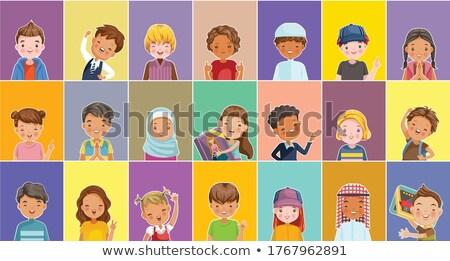 arab muslim girl kindergarten kid poses set vector friendly little children cute comic for web stock photo © pikepicture