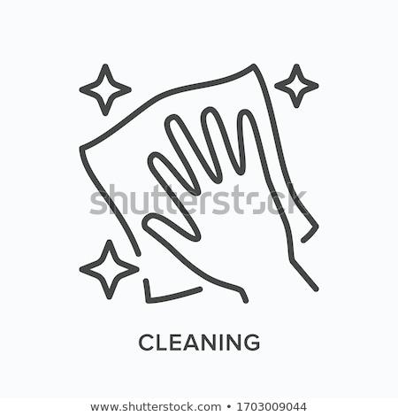 limpador · de · janelas · vetor · silhueta · homem · limpeza - foto stock © angelp
