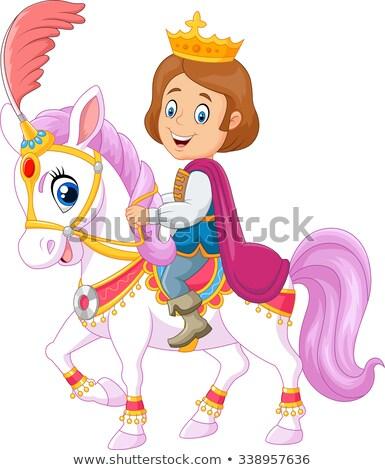 príncipe · cavalo · cena · ilustração · festa · crianças - foto stock © bluering