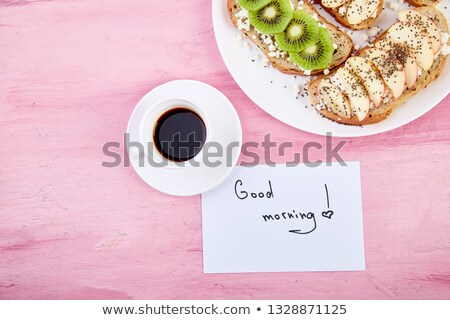 Koffiemok gezonde merkt goedemorgen roze tabel Stockfoto © Illia