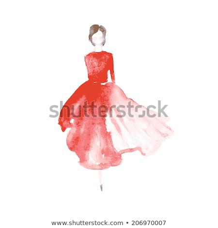 Foto stock: Manequim · vermelho · pintar · profundo · mãos · moda