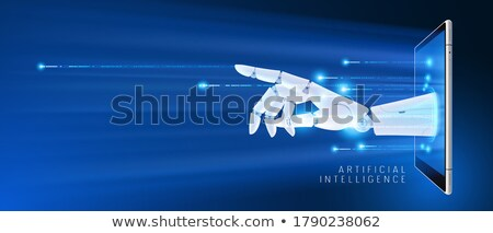 Robotic arm touching smartphone futuristic hud background. Stock photo © RAStudio