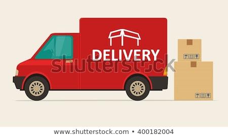 Logistiek dienst Rood levering auto poster Stockfoto © tashatuvango