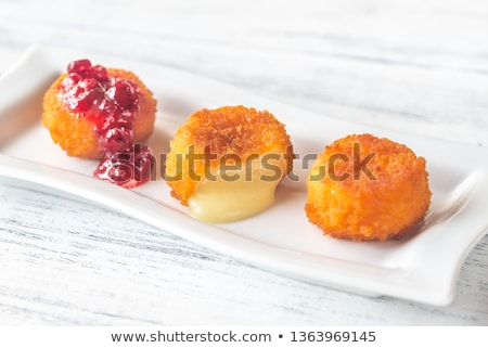 Camembert nuggets with cranberry sauce Stock photo © Alex9500