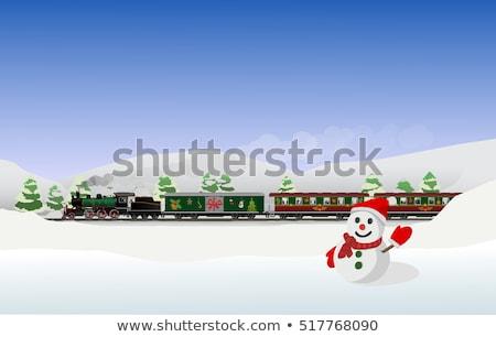 Сток-фото: поезд · зима · пейзаж · снега · моста · город