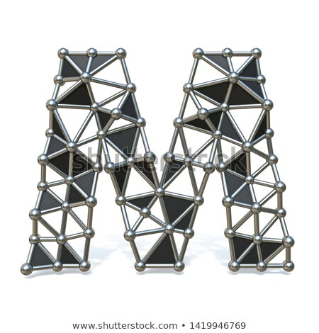 Wire low poly black metal Font Letter M 3D Stock photo © djmilic