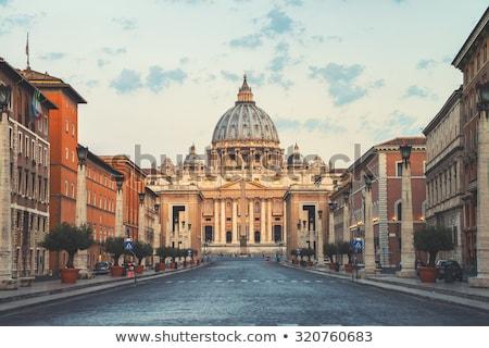 ストックフォト: 大聖堂 · ローマ · イタリア · 広場 · 噴水 · 花