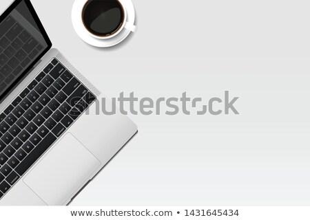 Beyaz ev ofis masaüstü vektör siyah çerçeve Stok fotoğraf © pikepicture
