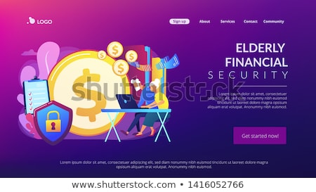 Stock photo: Elderly financial security concept landing page