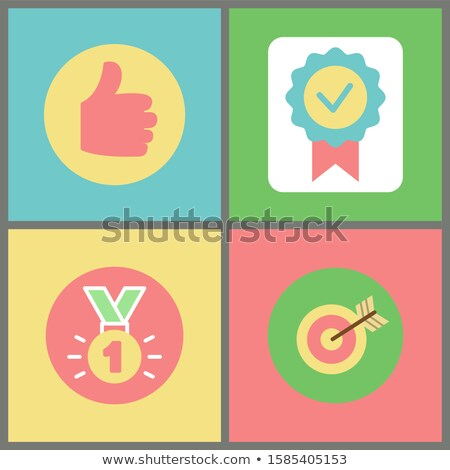 Thumb Up and Medal, Stamp and Target with Arrow Stock photo © robuart