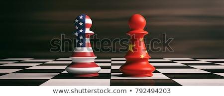 zászló · Kína · festék · színek · csillag · festmény - stock fotó © lightsource