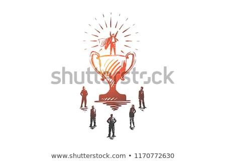 英雄 ビジネス ビジネスマン トロフィー 成功した 完了 ストックフォト © robuart