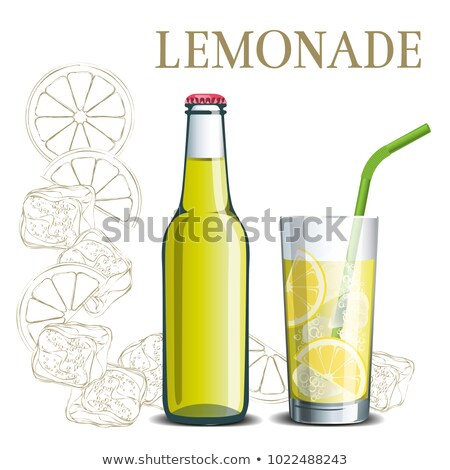 Design Glass With Lemonade And Ice Cubes Vector Stock photo © pikepicture