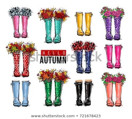 Merhaba yaz suluboya afiş çiçekler Stok fotoğraf © balasoiu