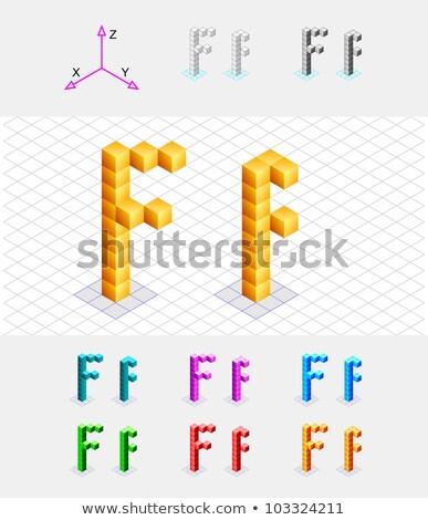 Cube grid Letter F 3D Stock photo © djmilic