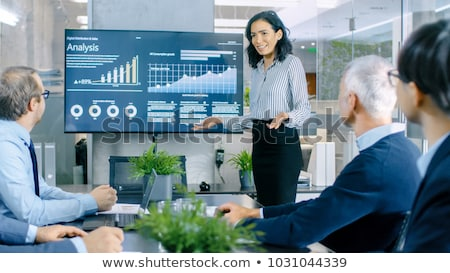 üzletasszony · magyaráz · férfi · kollégák · számítógép · iroda - stock fotó © nyul