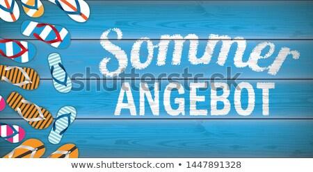 Sommer Angebot Flip-Flops Blue Wood Header Stock photo © limbi007