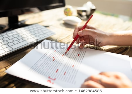 Person Marking Error With Red Marker Stock photo © AndreyPopov