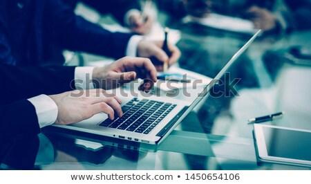 Zawodowych biznesmen pracy finansów laptop dokumentu Zdjęcia stock © Freedomz