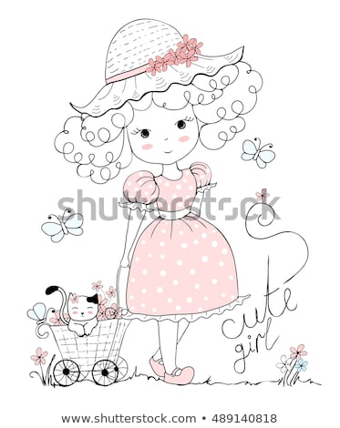 woman with pink flower blonde girl and lettering stock photo © robuart